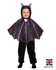 Kids Black Vampire BAT WINGS CAPE Girls Boys Halloween Fancy Dress Costume 3Y UK