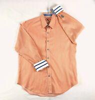 Robert Graham X Mens Orange Stripe Long Sleeve Flip Cuff Dress Shirt - Sz L