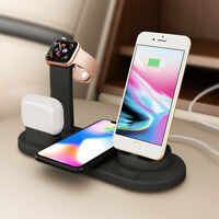 Qi Wireless Charger 3 in1 USB Station For Apple iWatch 5 4 AirPod Pro iPhone 11