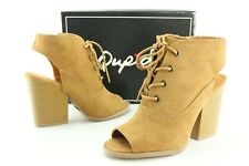New Qupid Barnes-39a Women's Camel Heeled Fashion Ankle Booties Us 8 Shoes D556
