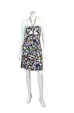 Chanel 07P Multi-Color Print Halter Mini Cotton Sun Dress w/ Keyhole - Size US 6