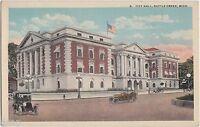 c1910 BATTLE CREEK Michigan Mich Postcard CITY HALL Cars
