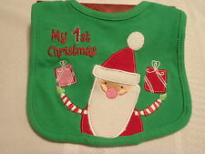 Baby Appliqued Embroidered My 1ST Christmas Bib NWT Easy Close Green Santa