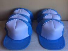 Lot Of (6) Baby Blue Adjustable Snapback High Profile Baseball Hats