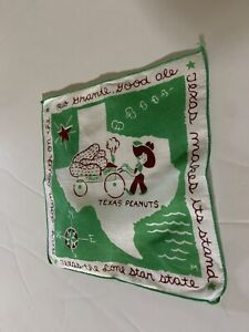 Vintage TEXAS peanuts handkerchief hanky hankie State