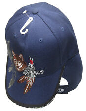 Native American Indian Wolf Feather Shadow BLUE Embroidered Cap Hat 635