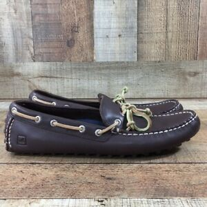 Sperry Topsider Brown Leather Hamilton Driving Mens 10 Casual Moccasin