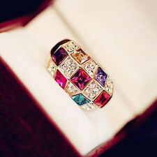 Colourful Luxury Jewelry Finger Ring Rings Dazzling Ring Crystal Rhinestone