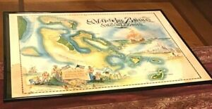 Vintage, Lovely Framed Picture Of The Map Of The Bahamas