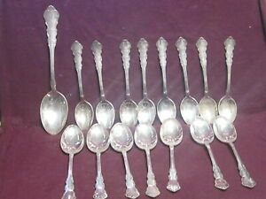 "16pc Silverplate Reed & Barton  Dresden Rose 8 Teaspoons 6"" 7 oval soup 6 7/8"""