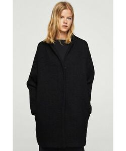 Mango Wool Blend Coat Black UK Medium LN013 ii 01