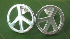 100% Real 925 Sterling Silver 12 mm round PEACE sign studs earrings - TEEN GIRL