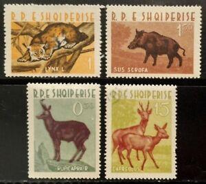ALBANIA ANIMAL WILD MAMMAL LYNX CHAMOIS.. full MLH/VFU set (4) 1962 #639-42