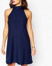 Boohoo Ladies Petite Roll Neck Sleeveless Swing Dress in Navy  UK 8