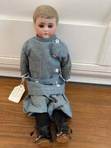 """UAntique German Bisque Head 13"""" Boy Doll Marked 13/0 All Original Flocked Hair"""
