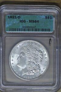1921-D Silver Morgan Dollar - VAM 1N Unicorn BU Beauty ICG MS64!!!