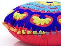 Decorativo Vintage Funda de Cojín Suzani Bordado Pom Encaje Rosa 40.6cm Redondo