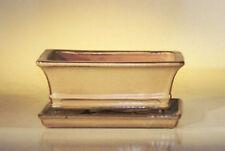 Bonsai Pot Rectangle w/ att'ed Tray prewired Ceramic Mustard 8.5 x 6.5 x 3.5 OD