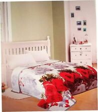 3D Blanket throw Mink silky soft King Size Plush Red Roses new