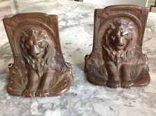 Set of 2 Art Deco Majestic and Proud Lion Bookends Bronze Finish