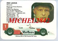 Carte trading card Formule 1 F1 Niki lauda McLaren MP4