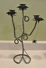 Black Wrought Iron Halloween CANDELABRA Candle Holder Bats Spiders & Web Midwest