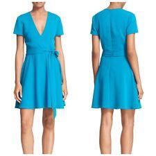 Alice & Olivia Adrianna Dress Size 10 Short Sleeve Faux Wrap Mini Teal Blue New
