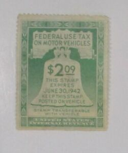 Revenue FEDERAL USE TAX MOTOR VEHICLES $2.09  Sc#RV1  1942  SEE PIC