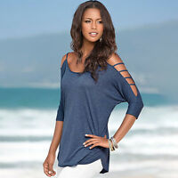Plus Size Women Summer Cold Off Shoulder Top T-shirt Ladies Short Sleeve Blouse