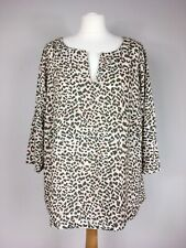 M&S Leopard Print Blouse UK 20 Popover Top 3/4 Sleeve Khaki Pink Lightweight