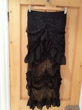 Victorian Gothic Black Lace Hitch Skirt 12 14 Vintage Steampunk Ruffle Halloween