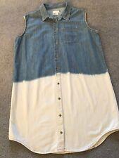 ASOS CURVE trendy dip dye denim dress UK 20 casual shirt button down (18?)
