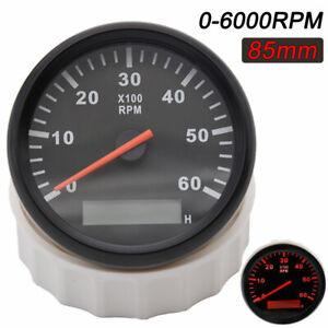 85mm Marine RPM Tachometer Gauge LCD Tacho Hour Meter for Boat 0-6000RPM 12/24V