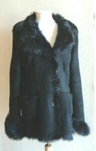 BLUR Italy Sz 44 8/10 Black Genuine Shearling Coat Jacket