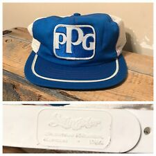 Vintage Swingster Trucker Snapback Hat PPG Chemical Baby Blue And White USA rare