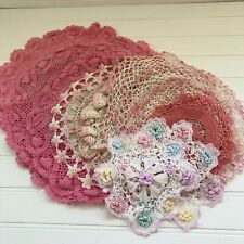 Lot of 12 Vintage Hand Crocheted Pink and White Doilies