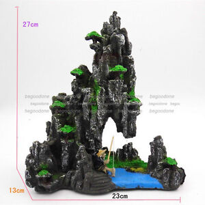 Large Aquarium Rockery Ornament Fisherman Resin Fish Tank Pond Decorations