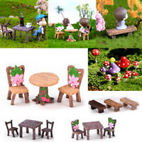 Miniature Fairy Garden Landscape Ornament Table Chair Bench Cat Dollhouse Craft