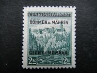 Germany Nazi 1939 Stamp MNH Tested Signed Overprint Castle at Zvikov B&M WWII Th
