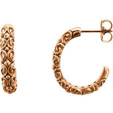 14k rose gold 20 x 4.1 mm half hoop earrings