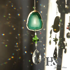 Crystal Suncatcher Pendant Green Nature Agate Glass Prism Charm Wind Chime Decor