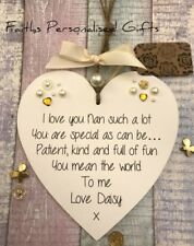 PERSONALISED SHABBY CHIC NAN/MUM HEART PLAQUE*ANY OCCASION*KEEPSAKE GIFT