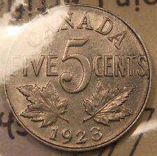 1923 Canada 5 Cents nickel. ICCS EF-45.