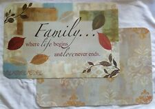 """Family Sentiment Reversible  Kitchen Dining Table Placemats 17""""x11""""  Set of 6"""