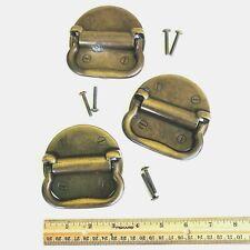 3 Vintage Bail Drawer Pulls Keeler Brass Round Backs KBC Drop Handles Salvage