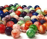 45 Edelsteine Natur Achat Perlen Rund 8mm Bunt Dragon Veins Schmucksteine G887#3