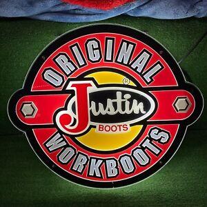 Original Justin Work Boots Light up Store Display Sign Bar Man Cave Wall Art