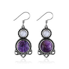 Vintage 925 Silver Natural Charoite Moonstone Dangle Earrings Hook Women Jewelry