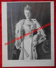 WILHELMINE Wilhelmina REINE QUEEN Netherlands PAYS-BAS ANTIQUE PRINT 1898