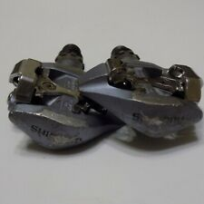 VINTAGE SHIMANO PD-A515 SPD CLIPLESS ROAD BIKE PEDALS - SILVER BLUE